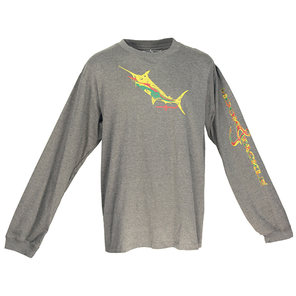 Men's Tribal Marlin Long-Sleeve Tech Tee, Charcoal, M