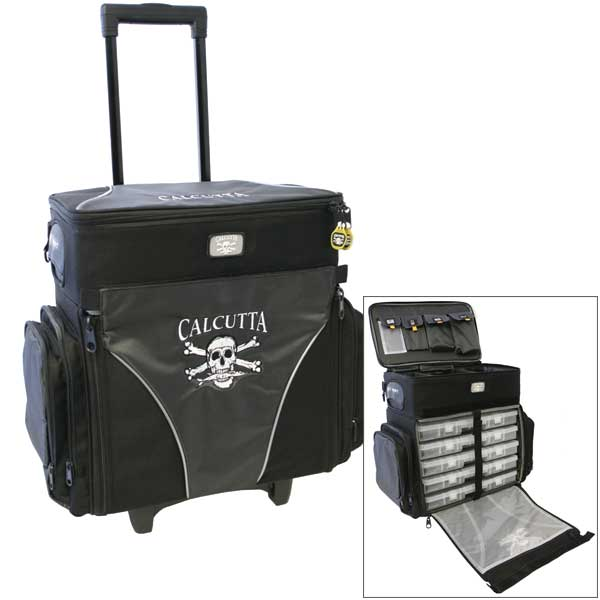 Calcutta Rolling Tackle Bag with Five Removable 370 Tackle Trays, Large