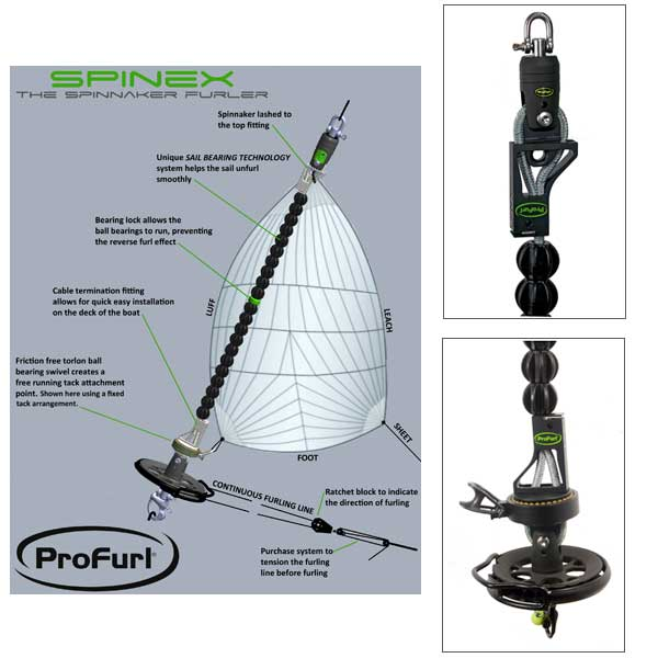 Profurl Spinnaker Furler, 540 sq.ft, SWL 1,980, Boat Length 9m (29 1/2'), Drum Dia.100mm (3 15/16), Headstay 14m (45' 11), D Shackle, Wire 9.5mm Sale $2049.99 SKU: 14219406 ID# SPINEX 0.9 UPC# 768536031317 :