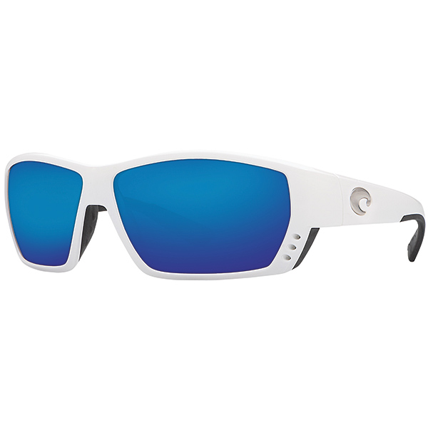 Costa Tuna Alley Sunglasses with 580G Lenses, White/Blue Mirror