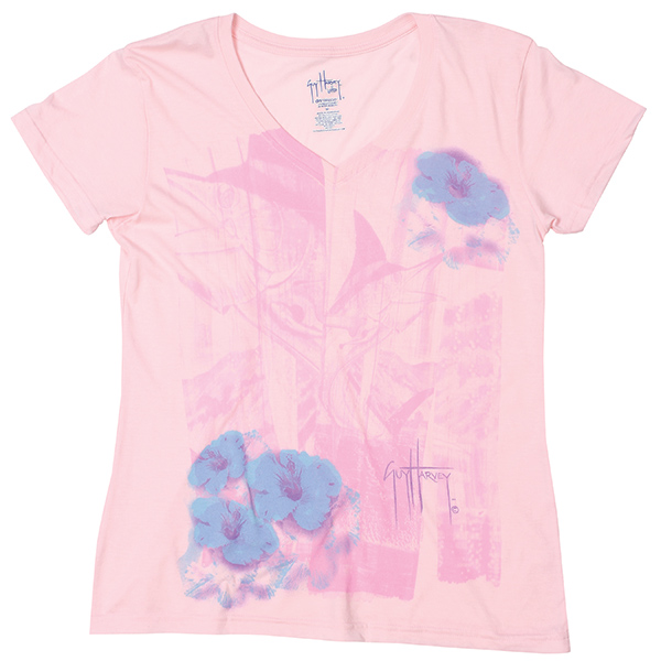 Women's Marlin Tropical V-Neck Tee, Pink, S
