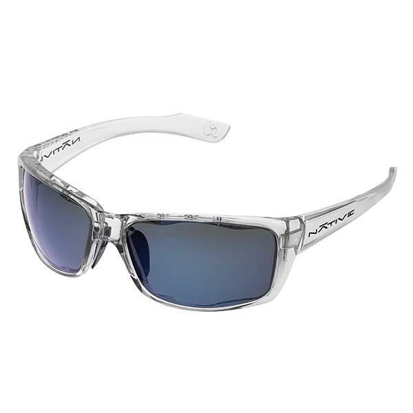 Native Eyewear Wazee Sunglasses, Crystal Frames with Blue Polarized Reflex Lenses White Sale $99.00 SKU: 14255384 ID# 135 375 519 UPC# 764824011665 :