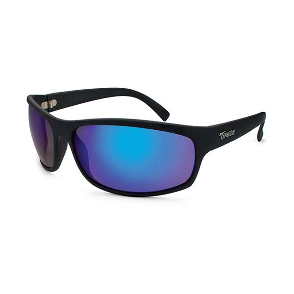 Typhoon Optics Harbor Sunglasses, Matte Black Frames with Meridian Black_blue Mirror Lenses