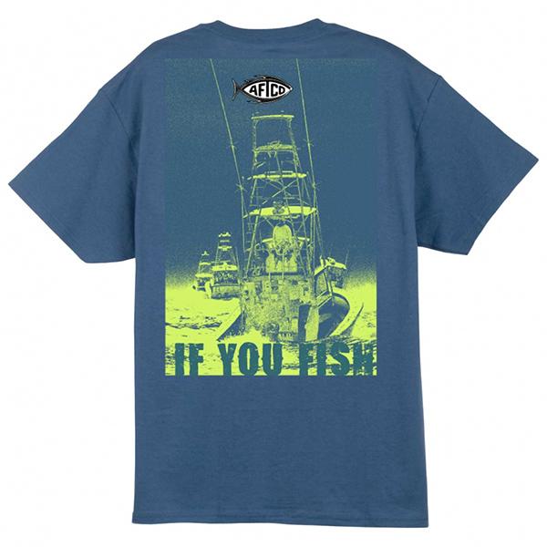 Aftco Men's Long Range Fishing Shirt, Blue, XL