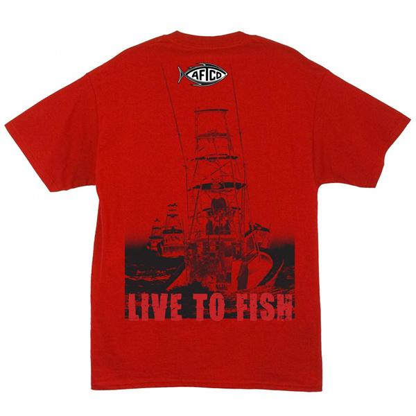 Aftco Men's Long Range Fishing Shirt, Red, 2XL