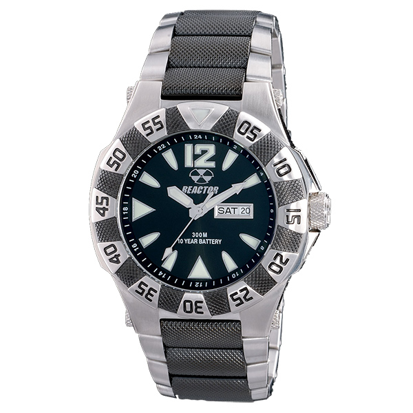 Reactor Gamma 2-Tone Stainless Steel Bracelet Watch, Black