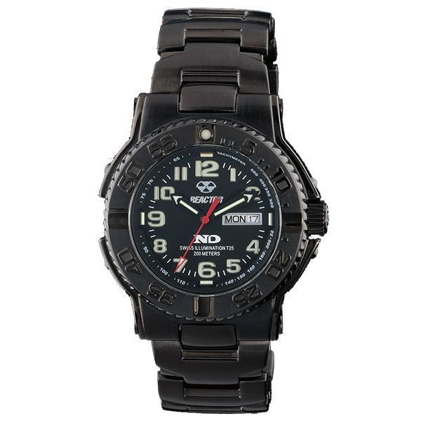 Reactor Trident Nitrided Stainless Steel Bracelet Watch, Black