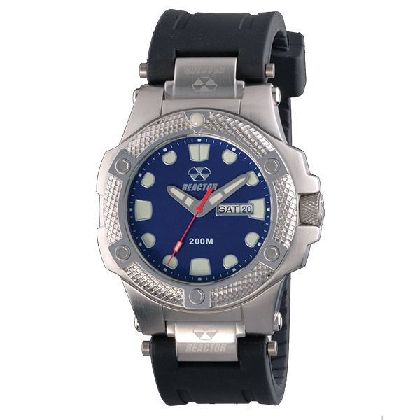 Reactor Meltdown Rubber Strap Bracelet Watch, Metallic Blue