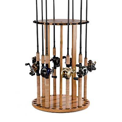 Organized Fishing Spinning Round Floor Rod Rack