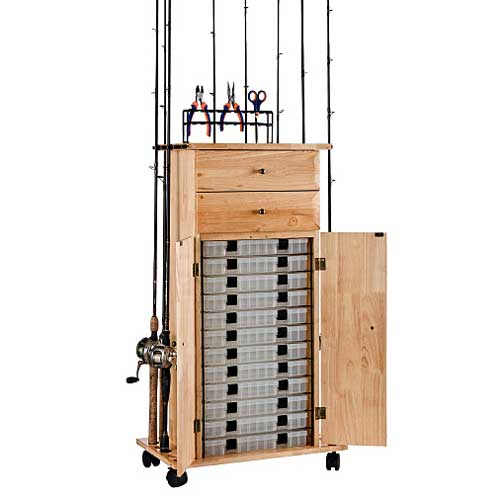 Organized fishing rod rack utility box cabinet west marine for Fishing rod rack
