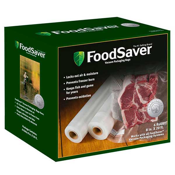 Food Saver GameSaver 6-Pack, 8 in. x 20 ft. Long Rolled Bags