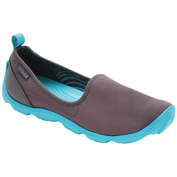 Crocs Women's Duet Busy Day Skimmers, Graphite/turquoise, 10