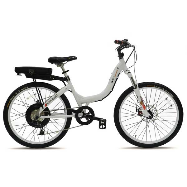 Stride 500 White Electric Bike 8 Speed, 36V, 500W