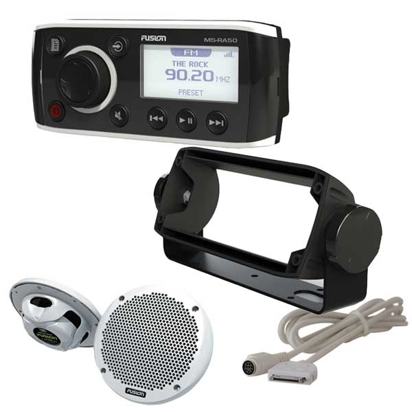 Fusion Marine AM/FM/iPod/iPhone Ready Receiver with Speakers, Bracket and Cable