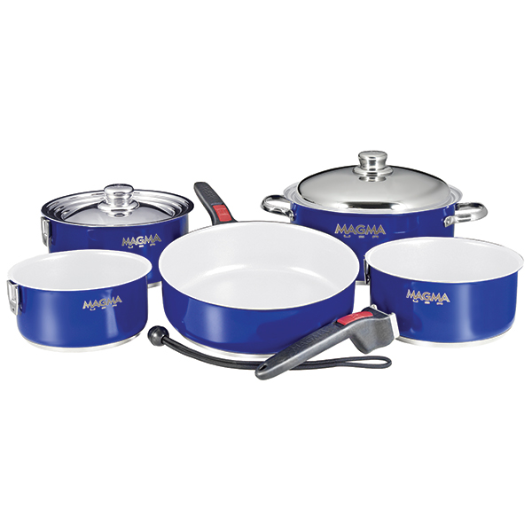 Magma 10-Piece Nesting Ceramic Non-Stick Induction Cookware Set, Cobalt Blue