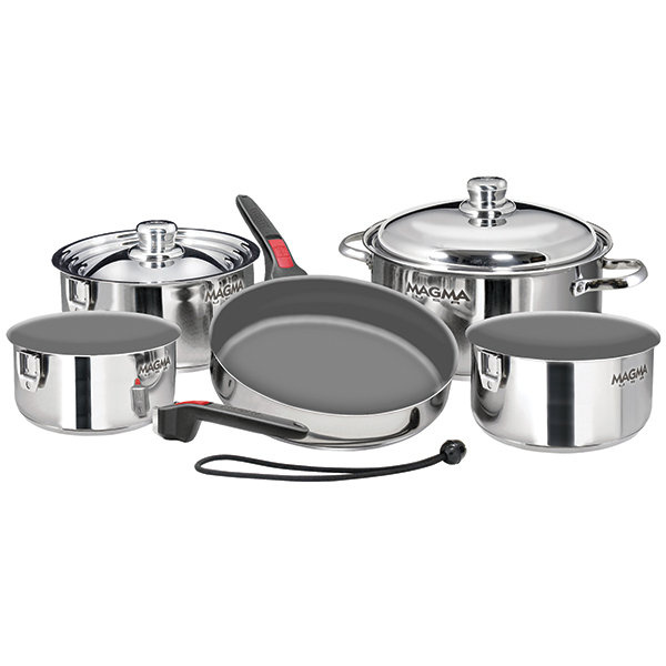 Magma 10-Piece Nesting Stainless Steel Ceramic Non-Stick Induction Cookware Set Sale $209.99 SKU: 14996904 ID# A10-366-IND UPC# 88379113699 :