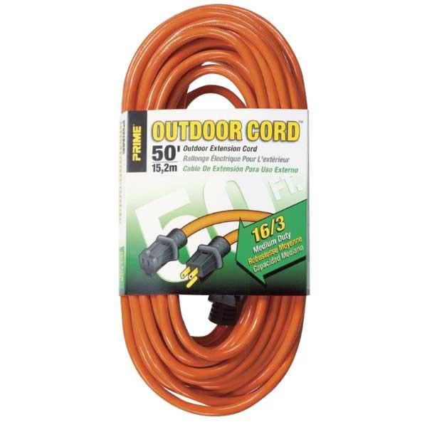 Primewire Extension Cord, Gauge 16/3, 50', Orange