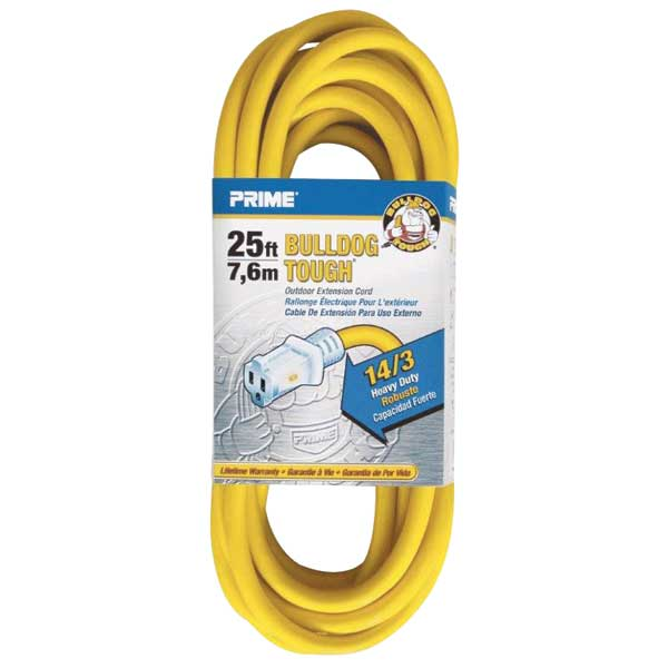 Primewire Extension Cord, Gauge 14/3, 25', Yellow
