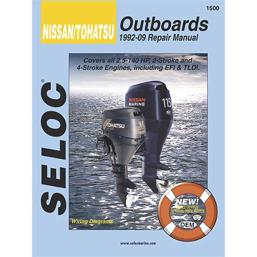 Seloc Marine Repair Manual - Nissan/Tohatsu Outboards, 1992-2009, 2 & 4-Stroke, 2.5-140hp Sale $13.66 SKU: 15076029 ID# 1500 UPC# 715568015006 :
