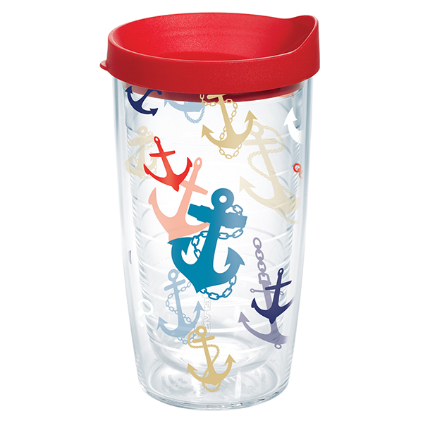 Anchor Collage Tumbler with Lid, 16 oz.