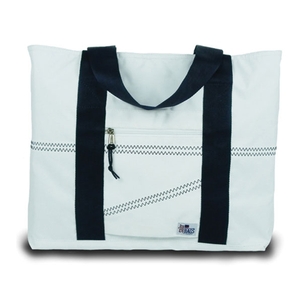 Sailor Bags Large Sailcloth Tote Bag, White/navy