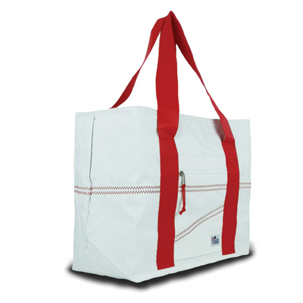 Sailor Bags Large Sailcloth Tote Bag, White/red