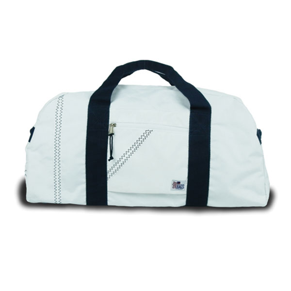 Sailor Bags Large Square Sailcloth Duffel Bag White/navy