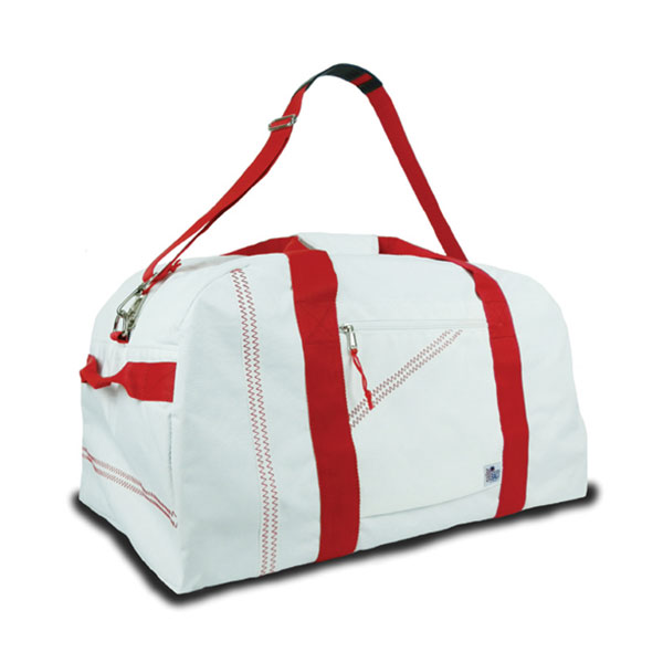 Sailor Bags Large Square Sailcloth Duffel Bag White/red