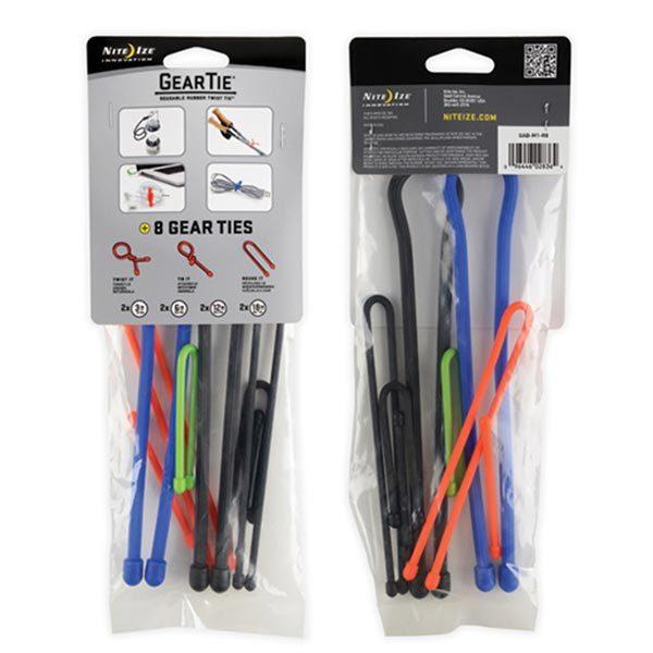 Nite Ize GearTie Reusable Rubber Twist Ties, 8-Pack Assortment Sale $11.99 SKU: 15100464 ID# GAB-M1-R8 UPC# 94664028364 :