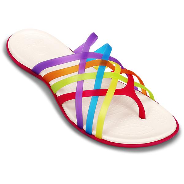 Crocs Women's Huarache Flip-Flops, Purple/blue/yellow/red/orange, 10