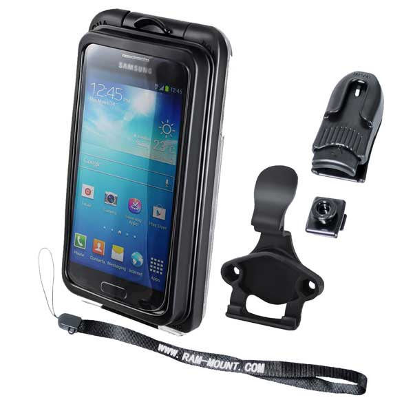 Ram Mounts Aqua Box Pro 20 Large Waterproof Smartphone Case with Lanyard, Button, Belt Clip, & Cradle Sale $35.61 SKU: 15132012 ID# RAM-HOL-AQ7-2C UPC# 793442936401 :