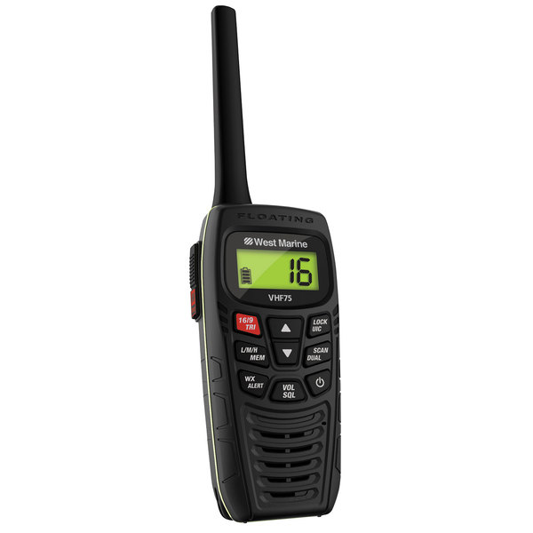 west marine vhf75 floating 6w handheld vhf radio west marine. Black Bedroom Furniture Sets. Home Design Ideas
