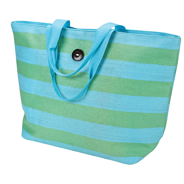 Striped Beach Tote, Turquoise
