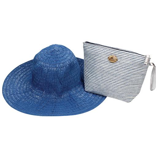 Dorfman Pacific Women's Lurex Pack-A-Hat Blue