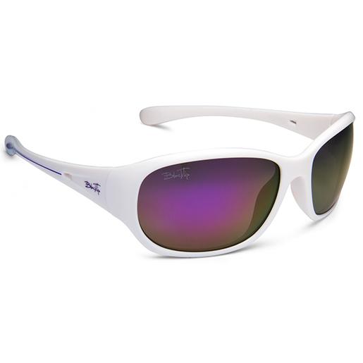 Blacktip Womens Mizzen Polarized Sunglasses, White Frames, Gray with Purple Mirror Lenses White/purple