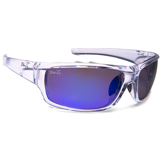 Blacktip Wake Polarized Sunglasses, Crystal Frames, Gray with Clear/blue Mirror Lenses