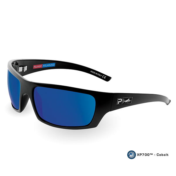 Pelagic The Mack Sunglasses, Gloss Black/blue Frames with Ocean Polarized Mirror Lenses