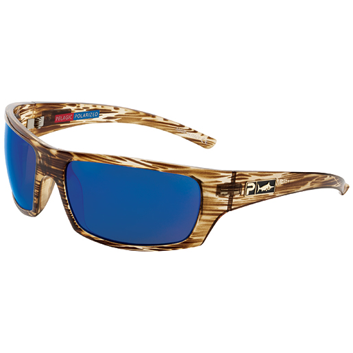 Pelagic The Mack Sunglasses, Oak Frames with Cobalt Polarized Lenses Brown/blue