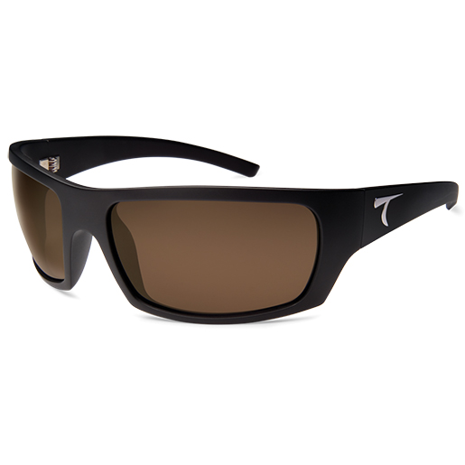 Typhoon Optics Cayucos Polarized Sunglasses, Matte Black Frames, Sunset Brown Lenses