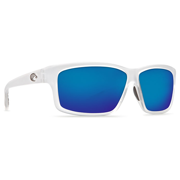 Costa Cut Sunglasses, Matte Crystal Frames with Blue Mirrored 580G Lenses
