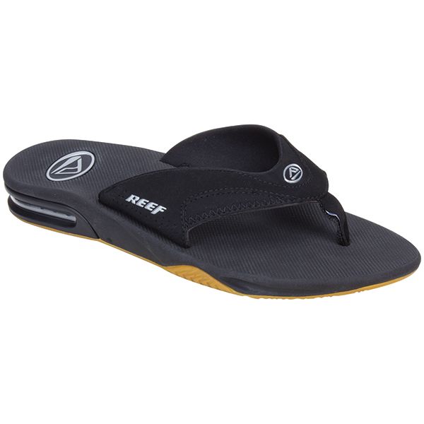 Reef Men's Fanning Flip Flops, Black/Silver, 8