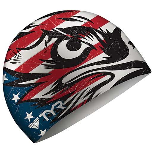 Tyr Sport Swim Cap, Patriot Navy/Red