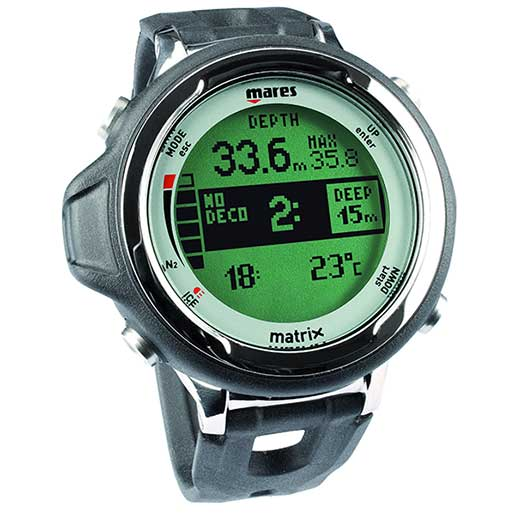 Mares Matrix Wrist-Mounted Dive Computer, Black