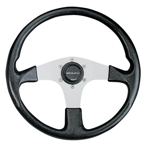 Uflex Corse Steering Wheel, Black Grip/Silver Spokes
