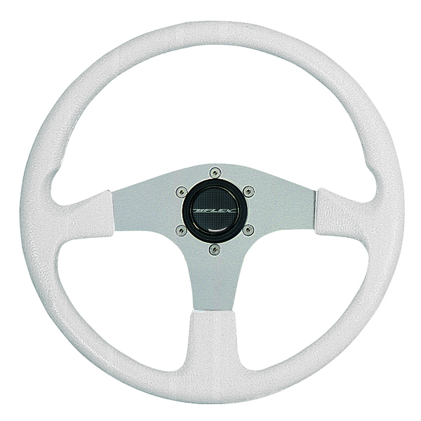 Uflex Corse Steering Wheel, White Grip/Silver Spokes