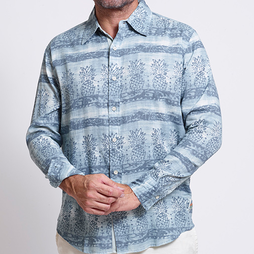 Margaritaville Men's Pineapple Bloom Shirt Blue