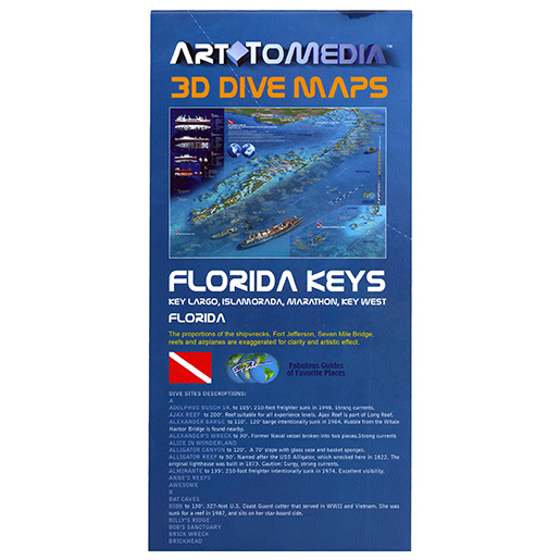 Trident Marine 3D Florida Keys Folding Dive Map