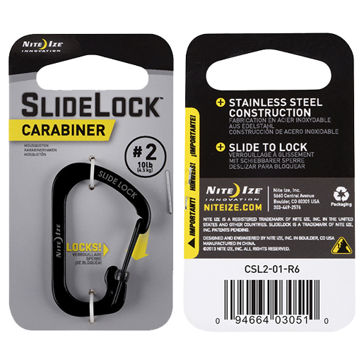 Nite Ize SlideLock Carabiner, Black Stainless Steel, Size 2