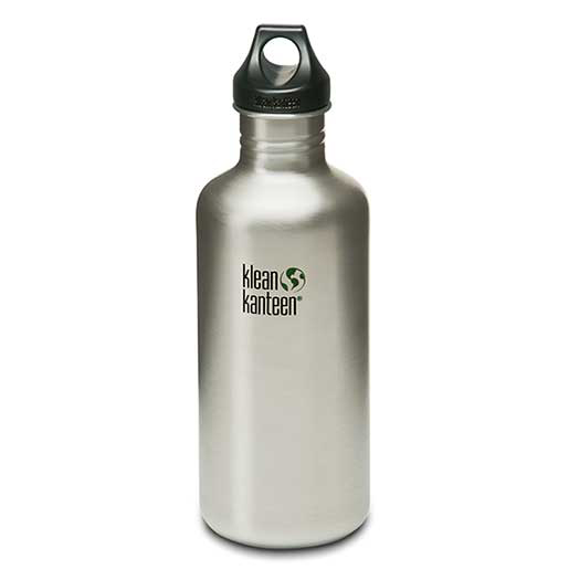Klean Kanteen Classic with Loop Cap, Silver Stainless Steel, 40oz.