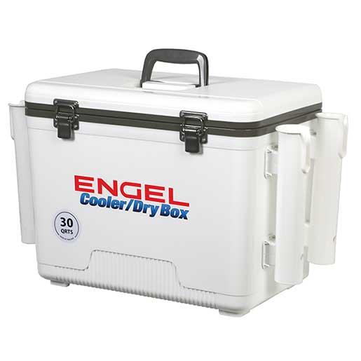 Engel UC30-RH Cooler/Dry Box with Rod Holders, 30qt.